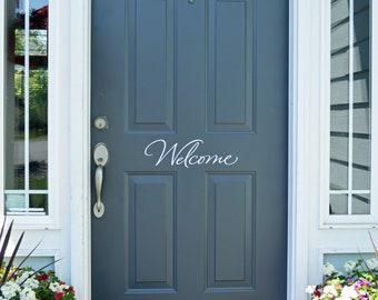 """Front Door Welcome Sign Handwritten """"Welcome"""" Script Welcome Decal-Welcome Home- Welcome Wall Decal- Welcome Vinyl Decal- Door Decor Sticker"""