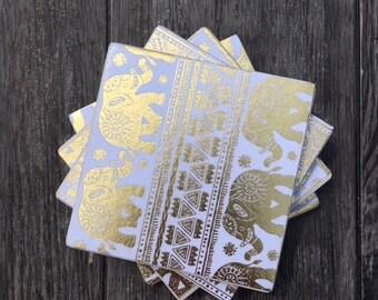 Gold Elephant Ceramic Coasters