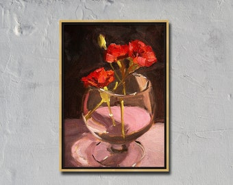 Red Flower, Still Life, Painting, Original Oil, Canvas, Small 6x8, Carnations, Glass, Wall Decor, Floral Art, Valentine, Romance