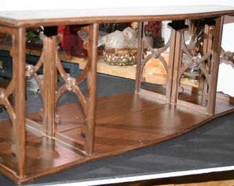 Mirrored shelf; partitioned shelf; 1963 wooden display; hang or bookcase topper