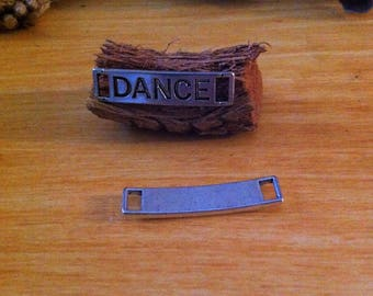 2 connectors antiqued rectangular DANCE print, silver bracelet