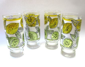 Lemonade Glasses Libbey Lemon Lime Tumblers Set of 4