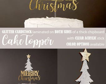 MERRY Christmas cake topper with christmas tree, winter wonderland, christmas cake topper, glitter party decorations