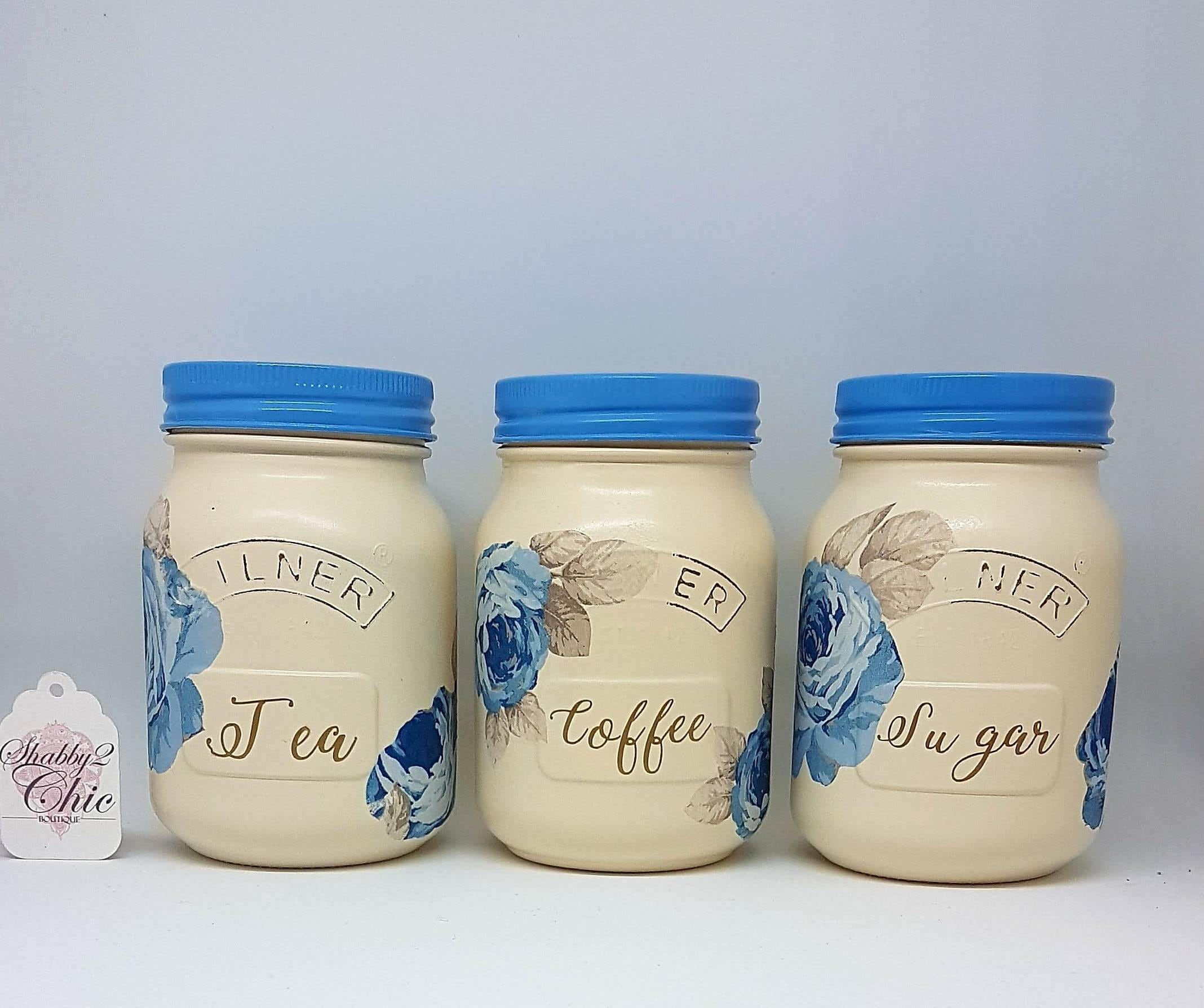 Set of 3 hand painted Cream and blue floral tea coffee sugar