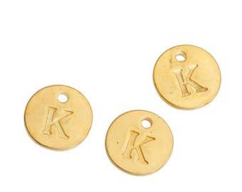 Letter K - 12mm Golden gold pendant
