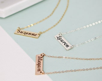Personalized bar single name necklace • name plate necklace •  Gold Layering necklace • Bar necklace • Engraved necklace - Mother's Day