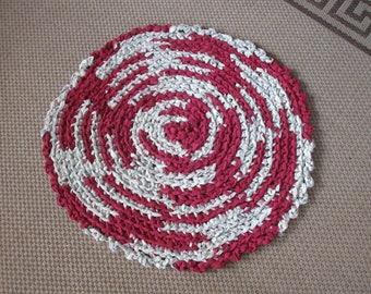 Rag rug, round rag rug, cerocheted burgandy and white.  JW218