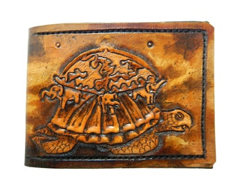 Hindu mythical Cosmic turtle - Akupāra - Leather Bifold Wallet - Handcrafted Wallet -