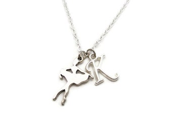 Small Ballerina Necklace, Personalized Ballet Necklace, Dancer Necklace, Ballet Jewelry, Customized Initial Necklace, Letter Sports Necklace