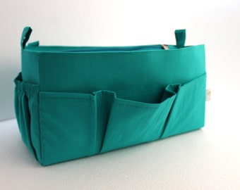 Purse organizer insert / Bag organizer /Handbag organizer in Turquoise fabric