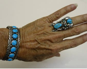 LATE NAVAJO ARTIST Robert Becenti Rare Sleeping Beauty Turquoise 7-Stone Row Bracelet; Sterling Silver; Signed R B