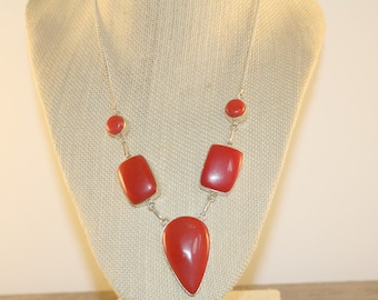 Red Coral Necklace, Silver Red Coral Necklace,