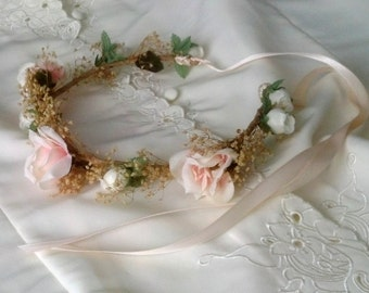 Little girl Floral crown blush peach pink ivory Dried Flower hair wreath wedding accessorie Bridal party halo baby photo prop vintage style