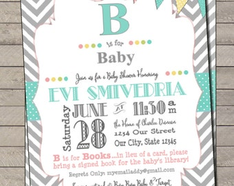 """B is for """"Baby"""" Gender Neutral Baby Shower Invite"""