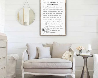 Velveteen Rabbit Sign, Velveteen Rabbit Quote, Nursery Decor, Nursery Sign Girl, Nursery Sign Boy, Book Quote Sign, Farmhouse Nursery