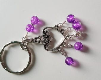 Heart and purple keyring bagcharm