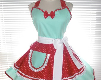 Retro Diner Apron Two Tiered Skirt Aqua Blue and Red Dots Extra Full Flirty Circular Skirts - Retro Apron