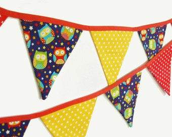 Woodland Animals Fabric Bunting Banner Flags. 13 flags 2.5m/8' blue owl nursery bunting flags for nursery decor or baby shower gift.