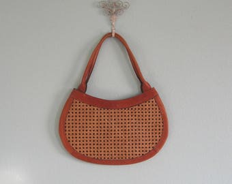 60s Wicker Bag - Vintage Leather and Rattan Purse - Chic 60s Brown Wicker Handbag - Vintage 1960s Handbag