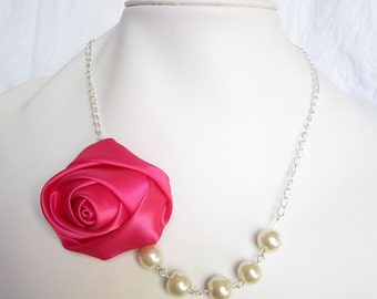 Silk Ribbon Fabric Rosette Flower Necklace,Color Roseo  Necklace,Pearl Necklace,Party Bridesmaid Necklace,Love Gift