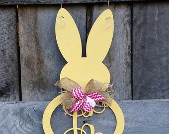 Easter Bunny Door Hanger - Painted Initial Easter Bunny Wreath - Spring Door Hanger - Personalized Spring Wreath