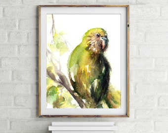 Green parrot print, Kakapo parrot painting, watercolor painting art print, bird art, bird wall art, painting of bird