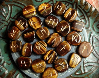 Tigers Eye Runes Rune Set gemstone divination tool with pouch and instructions