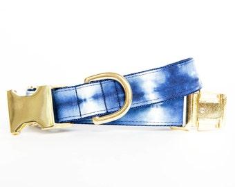 Stripe Indigo Batik, Shibori-Inspired, Gold Hardware