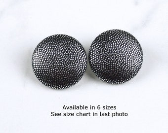 Silver Black Lame Covered Button Post Earrings - Large Metallic Fabric Covered Stud Earrings