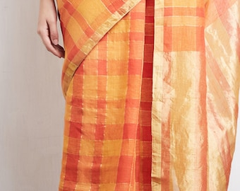 Anavila orange and gold sari