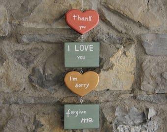 Wall decoration - Ho'oponopono - Thank you I love you I'm sorry Forgive me - wood -