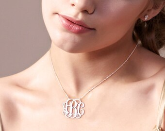 Silver Monogram Necklace,Silver Initial Necklace,Sterling Silver Nameplate Charm,1.5 Inch Initial Necklace Pendant,Monogram Letters Necklace