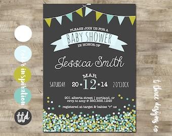 Confetti & Flag Bunrting Baby Shower Invitation, baby shower invite, confetti, sprinkles, boy baby shower, girl baby shower, bunting, chalk