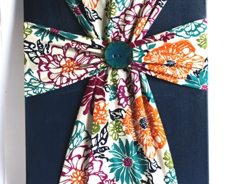 Handmade Fabric Cross Canvas Wall Hanging Navy Blue Floral