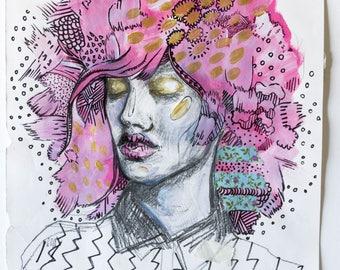 Pink Chaos Contemporary Hand Drawn Mixed Media Illustration