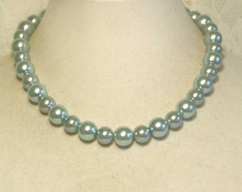 """Cynthia Lynn """"AFTERNOON TEA"""" Chunky Pastel Blue Glass Pearl Necklace 16""""-18"""""""