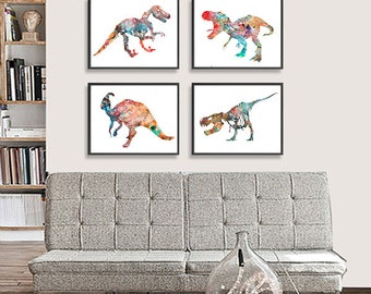 Art Print Watercolor Dinosaurs Art Watercolor Painting Print, Kids Art, Childrens Room Decor - Set of 4 - S6