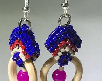Handmade wood hoop pierced earrings with fushia Alexandrite bead and woven bails, hypoallergenic earwires.