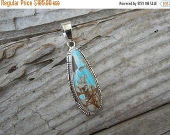 ON SALE Fabulous turquoise pendant handmade and signed in sterling silver, by Richard Curely, a Navajo silversmith