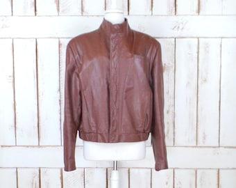 Vintage 80s brown leather motorcycle bomber jacket