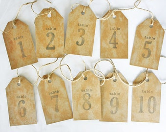 Rustic Kraft Tea Stained Number Tags, Rustic Table Numbers, Wedding Table Numbers, Rustic Wedding