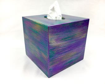 Tissue box cover, kleenex holder, wooden tissue box cover,