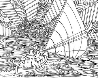Cayman Catboat Coloring Page, Adult Coloring Printable, Coloring Pages for Adults, Cayman Life + Art, Print PDF Download