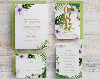 Tropical Wedding Invitations, Tropical Save the Dates, Hawaiian Wedding Invitations, Destination Wedding, Beach, Maui, Table Numbers, Menus