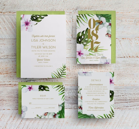 Tropical Wedding Invitations: Tropical Wedding Invitations Tropical Save The Dates