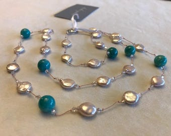 Timeless and Elegant amazonite and freshwater coin pearl