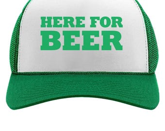 Here For The Beer Funny St. Patrick's Day Party Trucker Hat Mesh Cap