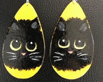 Hand-painted, wood, light-weight, kitten earrings
