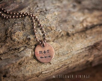 Custom Initial Necklace | Hand-stamped Copper Pendant Jewelry Anniversary Gifts for her Heart Arrow Girlfriend Wife Fiancee Love