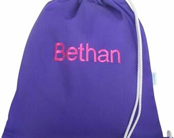 Kids Personalised PE Bag, Shoe Bag, School Bag - Purple